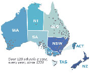 Host locations in Australia